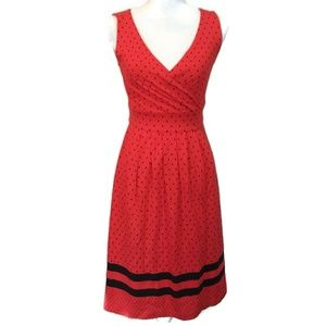 LAND'S END XXS-P Red with Black Polks Dots Dress